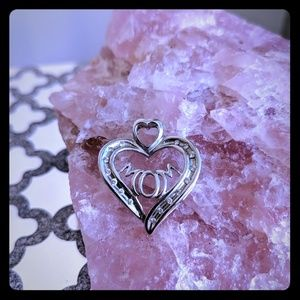 Jewelry - Sterling Silver Heart Shaped Mom Pendant